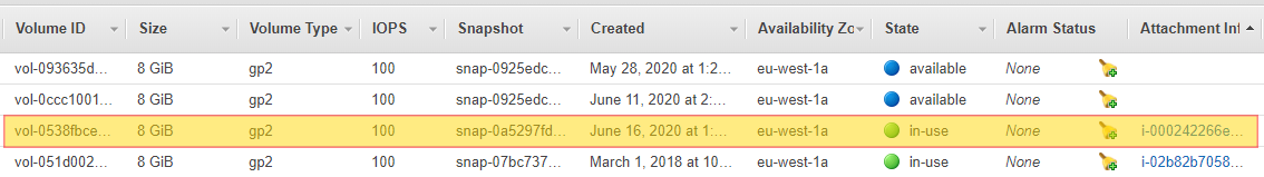 AWS EBS Volumes not used