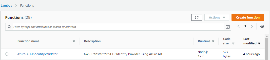 Updating AWS Lambda functions with Azure AD Identity provider for AWS Transfer for SFTP