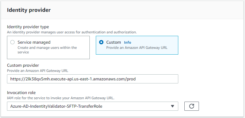 AWS Transfer for SFTP Custom Identity Provider